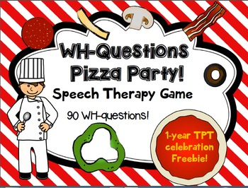image regarding Free Printable Speech Therapy Materials titled FREEBIE!! WH-Concerns Pizza Social gathering! Activity for Speech remedy - 90 queries