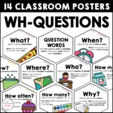 WH Question Word Posters: ESL Grammar Bulletin Board - Cla