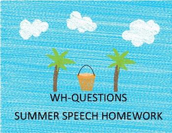 WH-Questions Summer Homework Calendar & Packet