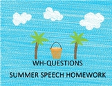 WH-Questions Summer Homework Calendar & Packet