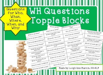 WH Questions Topple Blocks