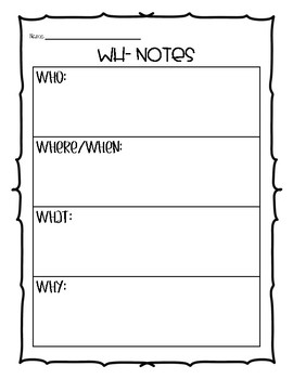 WH-Questions and Notes Pages