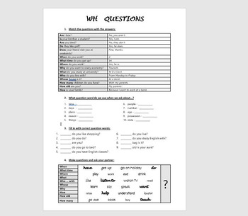 WH Questions for Elementary / Beginner Students