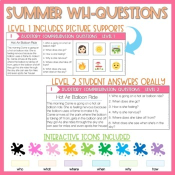 WH-Questions for auditory comprehension Summer Edition