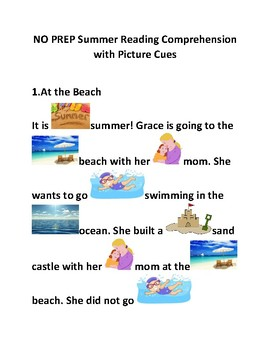 WH QUESTIONS Reading Comprehension WHO WHAT WHERE WHEN WHY with Picture Cues