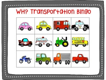 WH? Transportation Bingo Freebie