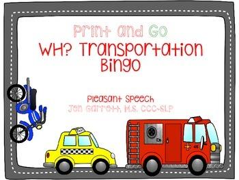 WH? Transportation Bingo Freebie