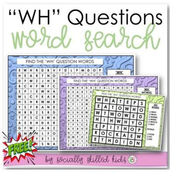 """FREE! """"Wh"""" Questions Word Search"""