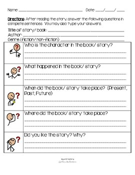 WH question Sheet WH Autism Visual Helper