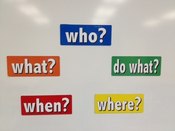 """5 """"WH"""" question word magnets"""