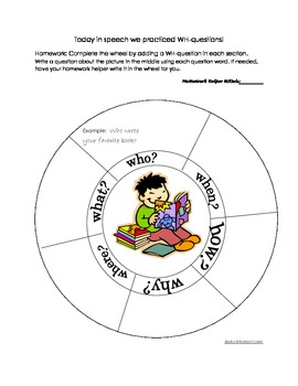 WH question wheel homework