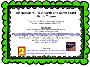WH questions and game board, March Theme