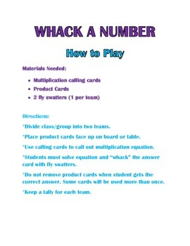 WHACK A NUMBER- Multiplication Game!