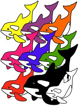 WHALE CLIP ART * COLOR AND BLACK AND WHITE