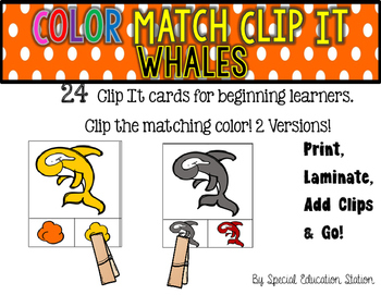 WHALES Color Match Clip It {A Beginning Work Task)