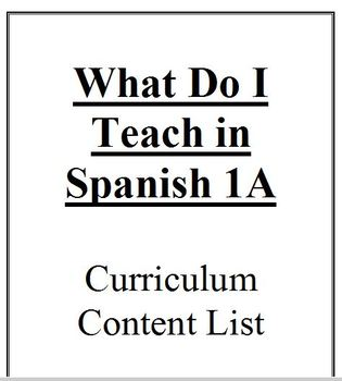 WHAT DO I TEACH IN SPANISH 1A - Curriculum Content List