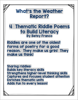WHAT'S THE WEATHER REPORT?  4 Pocket Chart Riddles