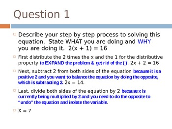 WHAT and WHY Multi-Step Equations