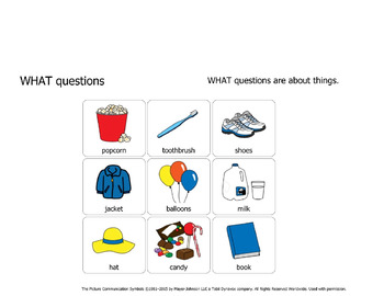 WHAT questions with visual answers for emerging communicators
