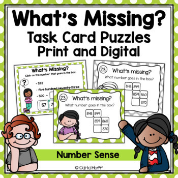 Number Sense Task Cards - 3-Digit Numbers - Follow the Clues!