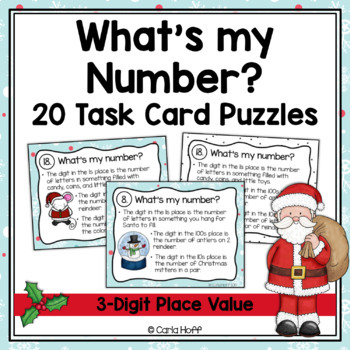 Christmas Place Value Task Cards - 3-Digit Numbers