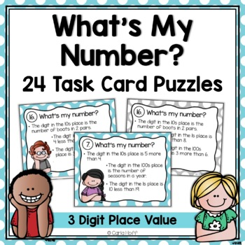 WHAT'S MY NUMBER?  Task Cards - Follow the Clues Place Val
