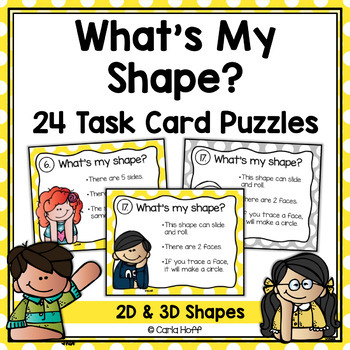 Geometric Shapes Task Cards -  Follow the Clues 2D and 3D Shape Puzzles