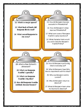 Jean Fritz WHAT'S THE BIG IDEA, BEN FRANKLIN? - Discussion Cards