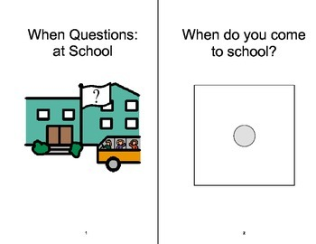 WHEN Questions ADAPTED Velcro BOOK, Speech Therapy, Autism, PCS