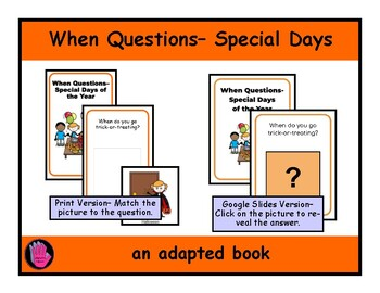 WHEN Questions HOLIDAYS BOOK, Adapted, SPEECH THERAPY, Autism, Vocabulary