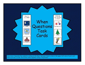 WHEN Questions, Task Cards FLASHCARDS, Speech Therapy, Autism