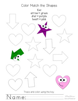 Color 2D Shapes and Shape Words Worksheets   FREE