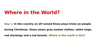 Christmas Around the World - Powerpoint of Daily Clues for Where in the World?