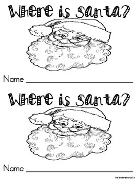 WHERE IS SANTA? POSITIONAL WORD EMERGENT READER BOOK *PERFECT FOR READ TO SELF!