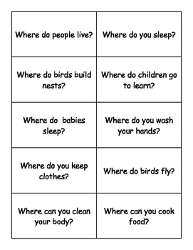 WHERE Questions Bingo Make & Take, SPEECH THERAPY