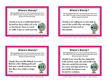 WHERE'S WENDY? • a Geography Terms Detective Game • GRADES 5–8