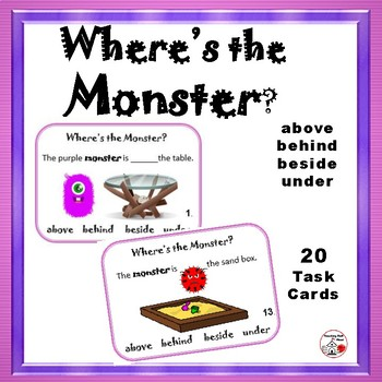 WHERE'S the MONSTER?  above, behind, beside, under - Grades K-1 Prepositions