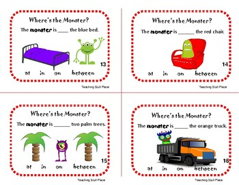 WHERE'S the MONSTER?   in ... at ... on ... between ... Grades K-1 Prepositions