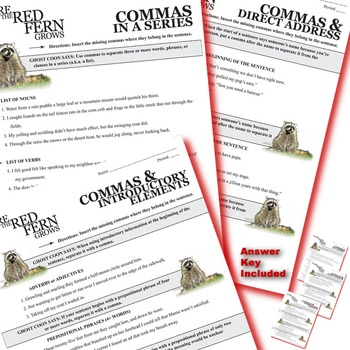WHERE THE RED FERN GROWS Grammar Commas Conjunctions Prepositions Interjections