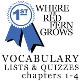 WHERE THE RED FERN GROWS Vocabulary List and Quiz (chapters 1-4)