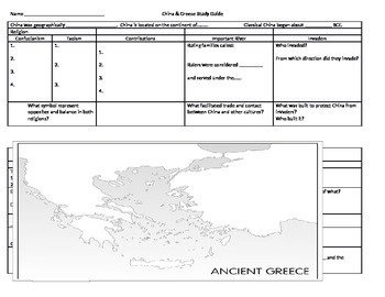 WHI.4e, 4f, 5a, 5b World Histoy SOL Study Guide China & Greece