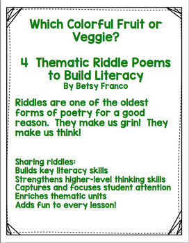 WHICH COLORFUL FRUIT OR VEGGIE? 4 THEMATIC RIDDLES