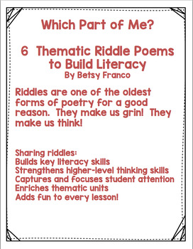 WHICH PART OF ME? 6 THEMATIC RIDDLE POEMS