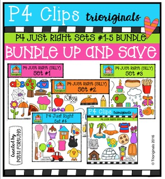 P4 Just Right Sets #1-5 BUNDLE {P4 Clips Trioriginals Digital Clip Art}