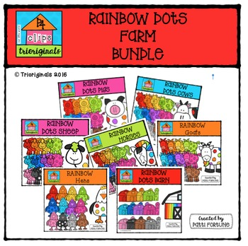 RAINBOW Dots FARM BUNDLE {P4 Clips Trioriginals Digital Clipart}