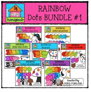 RAINBOW Dots BUNDLE  #1 {P4 Clips Trioriginals Digital Clip Art}