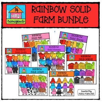RAINBOW Solid FARM BUNDLE {P4 Clips Trioriginals Digital Clipart}