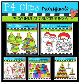 P4 COUNTS Christmas BUNDLE (P4 Clips Trioriginals Digital Clip Art)