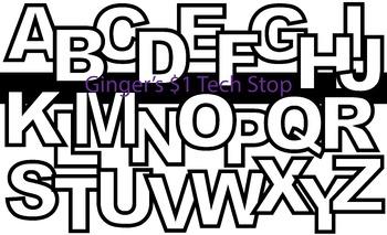 WHITE AND BLACK! * Bulletin Board Letters *  Upper Case * Alphabet