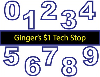 WHITE AND BLUE! * Bulletin Board Letters * Numbers * 0123456789